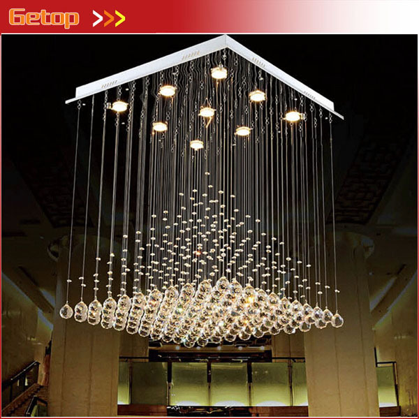 Best Price L80xW80xH100cm Modern K9 Square Crystal Chandelier Restaurant Lamp Hanging Wire Pyramid Crystal Lamp Project Lights best price creative pyramid crystal light bedroom restaurant lamp led hanging wire crystal lamp ceiling lights free shipping