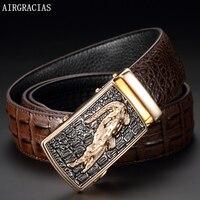 AIRGRACIAS Men Genuine Leather Belt Crocodile Pattern Automatic Buckle Strap Designer Male High Quality Ceinture Homme