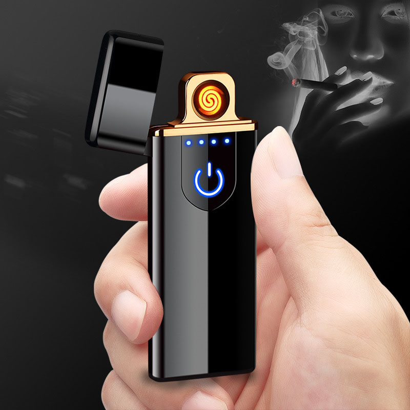 New Thin Usb Charging Lighter Touch Screen Electronic Cigarette Lighters Small Rechargeable Electric Lighter Windproof Men Gift
