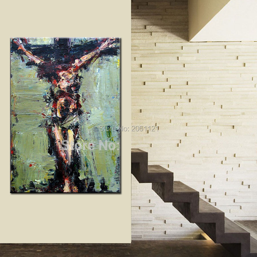 ročno poslikana Jezusovo olje slika Kristus veliki petek platno - Dekor za dom - Fotografija 5