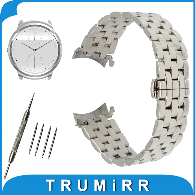 22mm Stainless Steel Watch Band Curved End Strap for Ticwatch 1 46mm Butterfly Buckle Wrist Belt Bracelet Black Silver + Tool