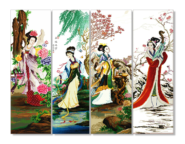 Just Cross Stitch Kit For Embroidery Four Beauty Traditional Chinese Women Needle Arts And Craft Home Garden Decoration Diy Gift Fragrant Aroma Cross-stitch Arts,crafts & Sewing