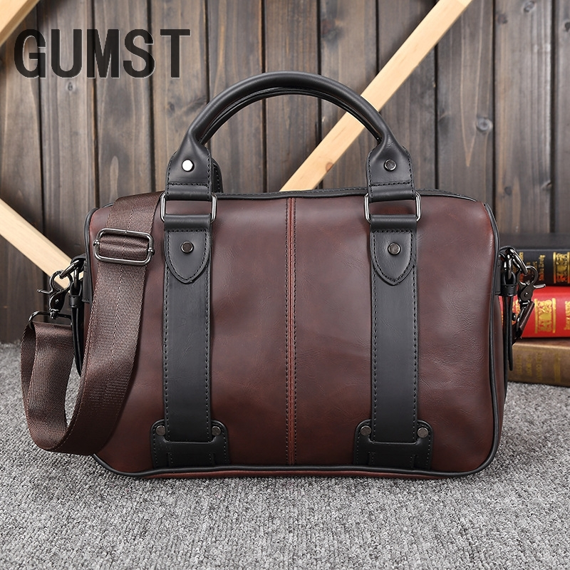 GUMST New Crazy Horse PU Leather Laptop Briefcase Business For Men Vintage Briefcases Shoulder HandBags Tote