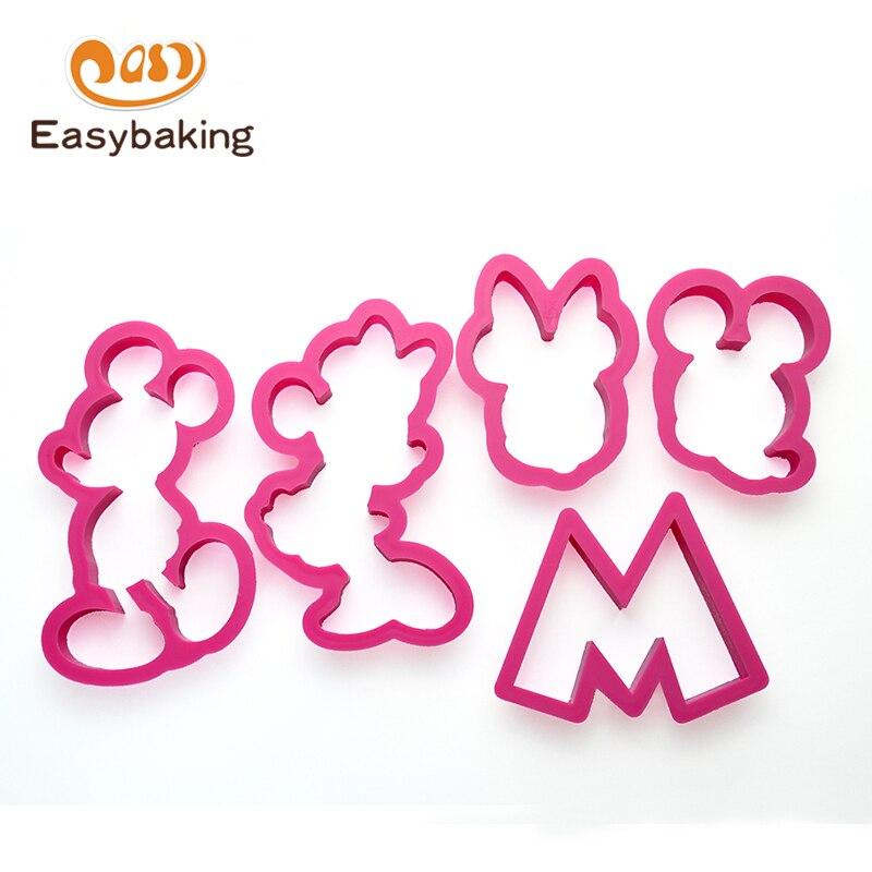 Набор из 5 кухонных аксессуаров, пластиковый резак для печенья с изображением Микки Мауса