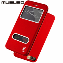 Musubo марка кожаный чехол case для iphone 7 флип чехлы для iphone 7 plus стенд cover смарт вид из окна предложение протектор экрана чехол на айфон 6 Plus 7 Plus кожаный чехол cases
