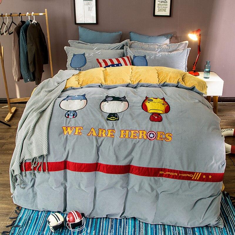 winter crystal velvet bedding set fleece super warm captain america duvet cover bed sheet king