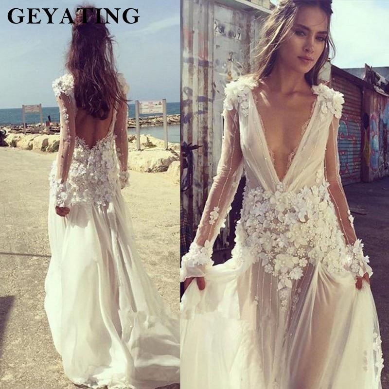 Backless Beach Wedding Dresses V Neck Flowing Vintage Boho: 2019 Plunging V Neck Boho Wedding Dress Long Sleeve 3D