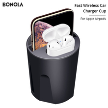 Bonola Fast Wireless Car Charger Cup for iPhone XsMax/Xr/8 Car Charging for Apple Airpods Qi Wireless Charger For Samsung S10/S9