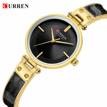 CURREN Womens Watches Fashion Black Golden Ultra-Thin Analog Quartz Wrist Watch Bracelet Reloj Mujer Clock Relogio Feminino Gift