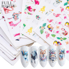 15pcs Mixed Sticker Nails Art Slider Set Flamingo Owl Flower Animal Designs Water Manicure Tips Foil Nail Decals CHSTZ659-673-1(China)