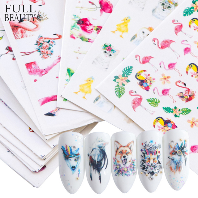 15pcs Mixed Sticker Nails Art Slider Set Flamingo Owl Flower Animal Designs Water Manicure Tips Foil Nail Decals CHSTZ659 673 1