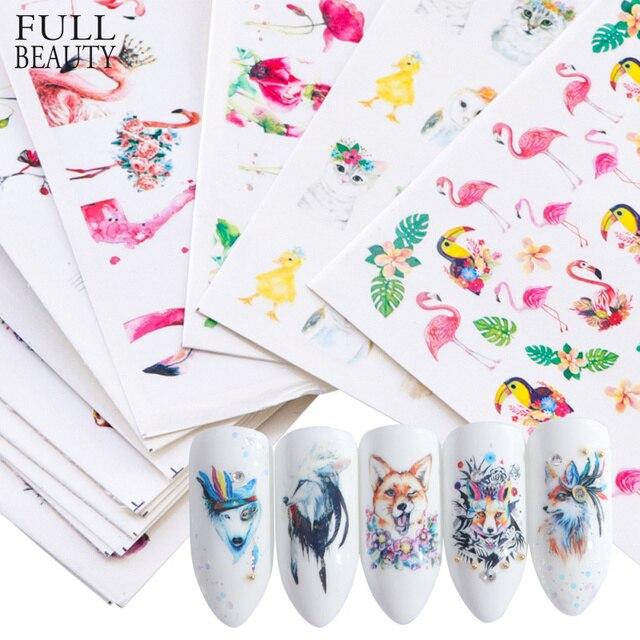 15pcs מעורב מדבקת ציפורניים אמנות מחוון סט פלמינגו ינשוף פרח בעלי החיים עיצובים מים מניקור טיפים לסכל מדבקות CHSTZ659 673 1