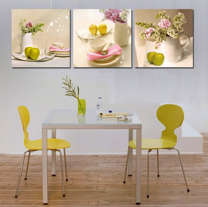 Frameless 3Pcs Canvas Painting 2017 New Sale Flowers/Fruit/Cups Modular  Picture Home Decor