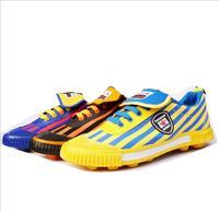 Обувь для мальчиков Футбол обувь высокого качества детские спортивные туфли мужские шипованные футбольные бутсы три цвета в полоску Холст ...