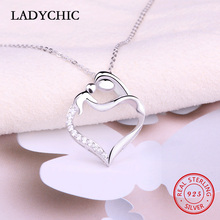 hot deal buy ladychic genuine 925 sterling silver mother baby pendant necklaces pure silver love heart thanksgiving mother's day gift lns1011