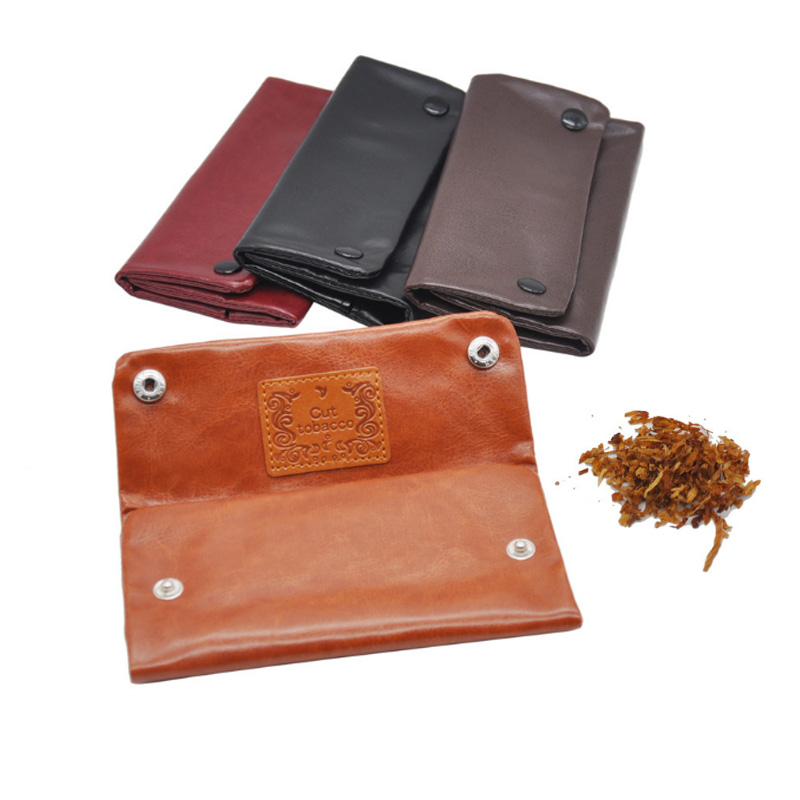 Popular PU Leather Tobacco Pouch Weed Storage Smoking Pipe Portable Dampproof Hook Pipes Tobacco Cigarette Bags Gift Smoker