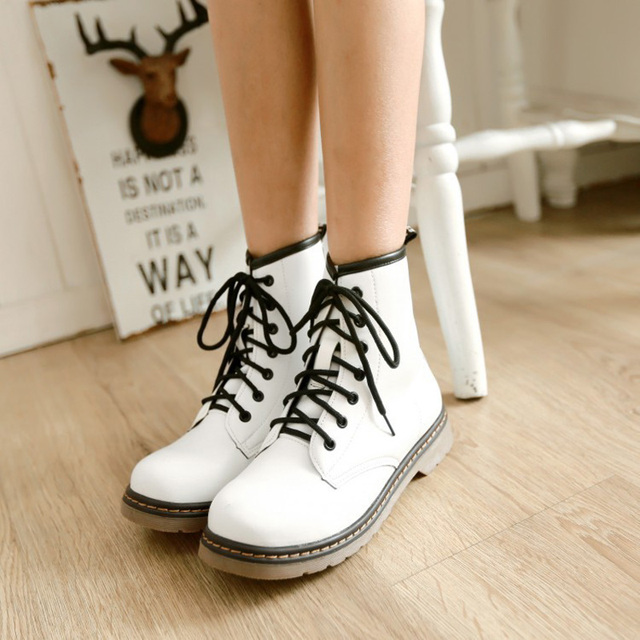 2fa359924aa4 Hot Autumn Winter Women Ankle Leather Boots British Fashion Ladies High Top  Martin Shoes Female Retro Lace-Up Short Knight Boots