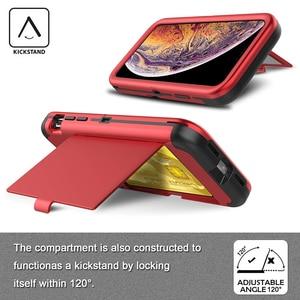 Image 5 - Pour iPhone Xs Max X 7 8 Plus étui portefeuille porte cartes support de fente caché miroir arrière robuste Protection du corps complet étui robuste