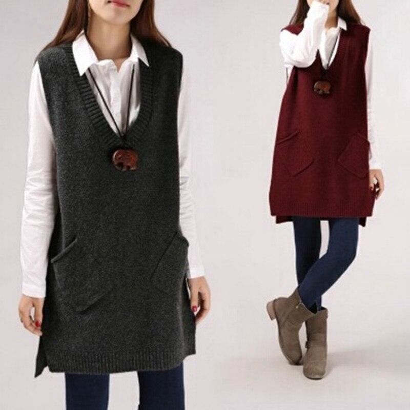 Wool Cardigan Sleeveless Blazer Collar 2019 Spring Autumn Long Vest Waistcoat Female Women Outwear Longline Jacket Pocket Coat