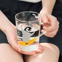Hand Blown Clear Glass Mugs With Polar Bear Or Penguin Pattern Heatproof Coffee Milk Tea Cups