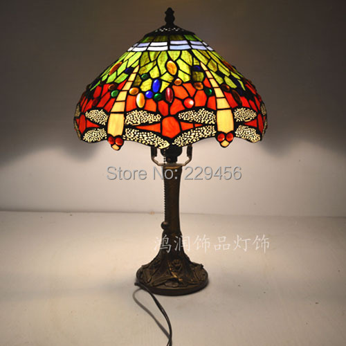 Elegant 12 Inch Dragonfly Stained Glass Lampshade Tiffany Table Lamp Country Style  Bedside Lamp E27 110