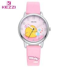 KEZZI мультфильм детей часы ребенок Часы модные Обувь для девочек Дети Студент милого Кожа аналоговые кварцевые наручные Часы