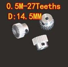 0.5M-27T Aluminum Alloy Precision Spur Gear-Hole D:3mm