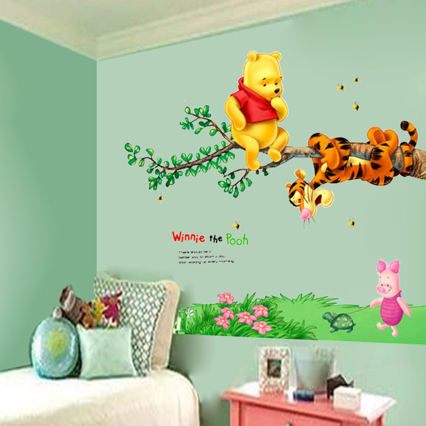 Animal cartoon Bear Tiger Tree Bee Wall Stickers For Kids Room Home Decoration Decals Wallpaper Nursery Children Room Decor(China)