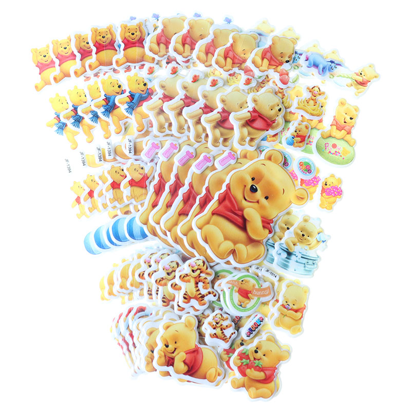 10pcs Children Stationery Sticker Cute Winnie Bear Bubble Sticker 3D PVC Applique Diary Album Decoration Kawaii Sticker