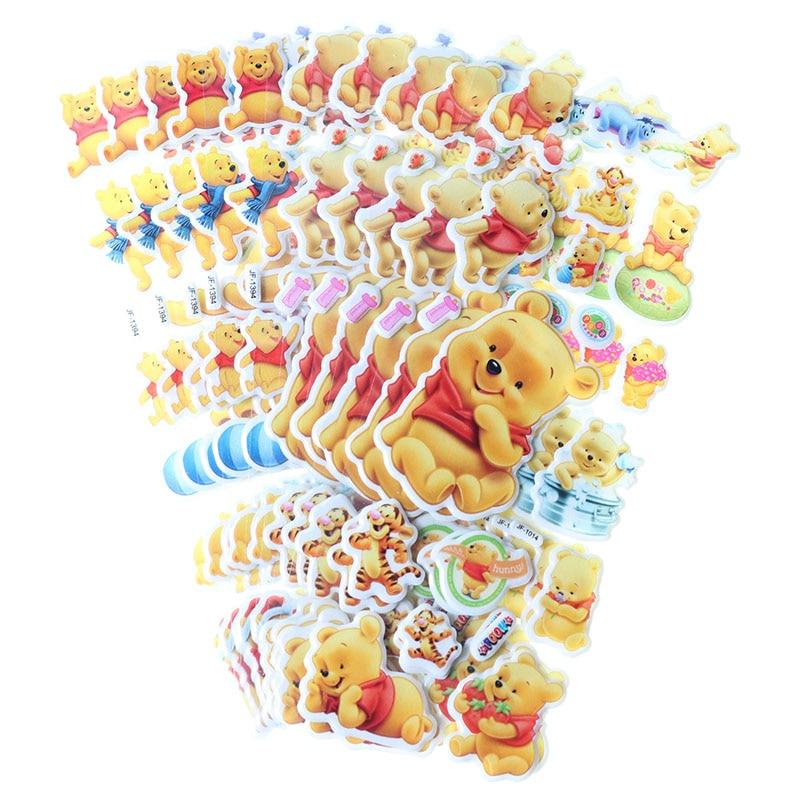 10pcs Children Stationery Sticker Cute Winnie Bear Bubble Sticker 3D PVC Applique Diary Album Decoration Kawaii Sticker