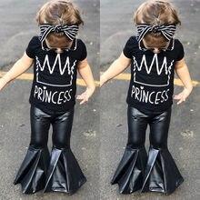 2 шт. детская одежда для малышей Обувь для девочек черный письмо короткий рукав Футболка+ кожаные штаны модная одежда Комплект одежды От 2 до 7 лет
