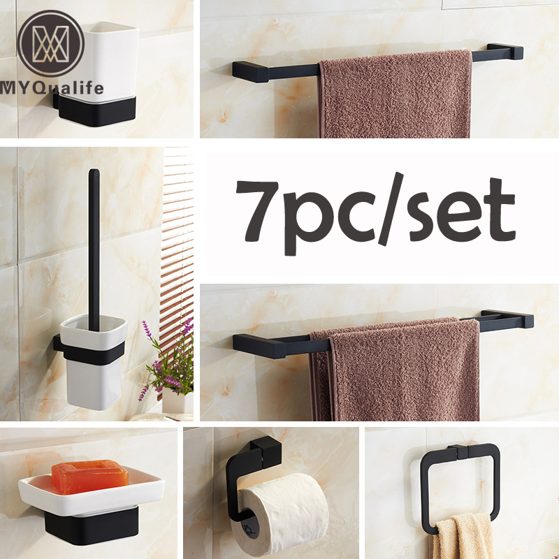 Oil Rubbed Bronze Black Bathroom Accessory Set 7pc Rowel Bar Toilet Brush Rack Towel Ring Paper Rack oil rubbed bronze square toilet paper holder wall mounted paper basket holder
