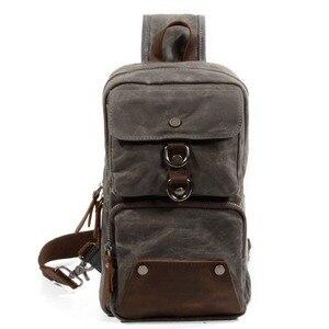 Image 5 - Мужская нагрудная сумка Muchuan 6030 # для спорта на открытом воздухе, сумка через плечо, водонепроницаемая Холщовая Сумка из масляного воска для жизни, аксессуары и 8 дюймовый ноутбук