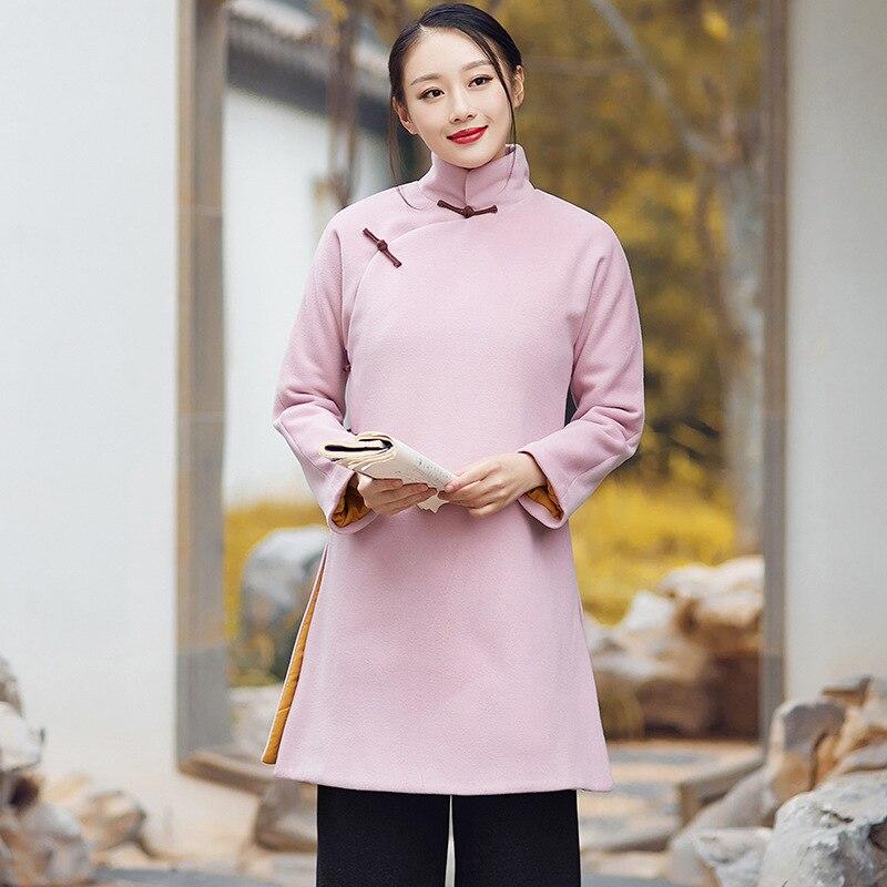 Longues Manches Laine De Rétro Hiver À Sections Thé Rose Plaque Nouvelle Veste Manteau Chinois Coton Bouton Robe qtPRwFx6