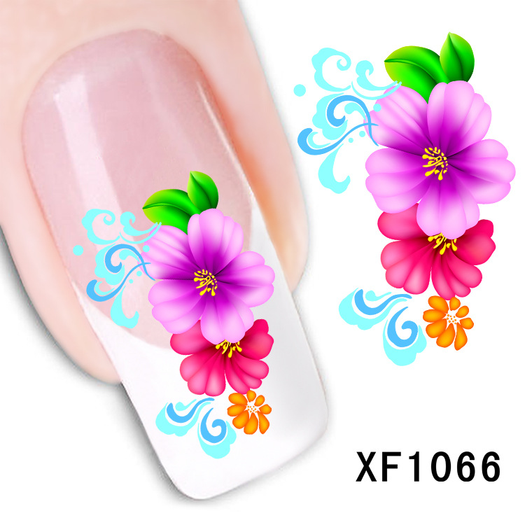 2 Sheet Nail stickers flower simulation flower watermark nail stickers affixed to the tube row of pens a month XF1066