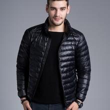 גברים מקרית חם מעילי מוצק דק לנשימה חורף מעיל Mens בחוץ מעיל קל משקל דובון בתוספת גודל XXXL hombre jaqueta