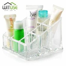 WITUSE 9 Grids Acrylic Makeup Organizer Lipstick Storage Nail Polish  Container Multifunction Container Storage Box For