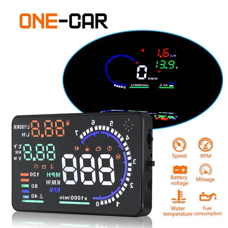 GEYIREN A8 5 5 Car HUD Head Up Display Windscreen Projector Vehicle Fuel Consumption Overspeed Alarm