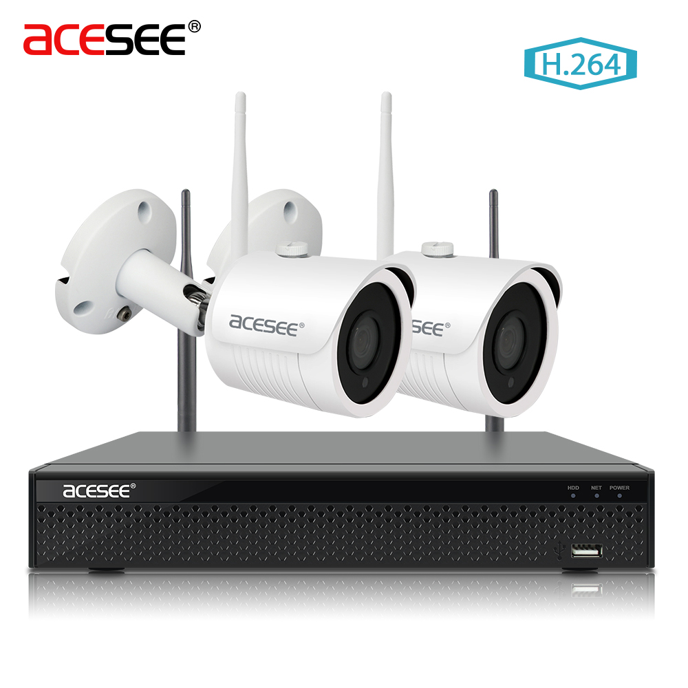 ACESEE 4CH 1080p NVR System Video Street Surveillance Cameras Outdoor 720P IP Cam Wifi Wireless Security Camera System NVR WI FI