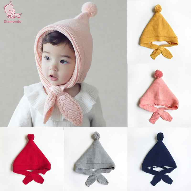 91028210 Baby Winter Warm Hat Elf Pattern Korean Fleece Thickened Solid Color Children  Knitted Cap Windproof Earmuffs