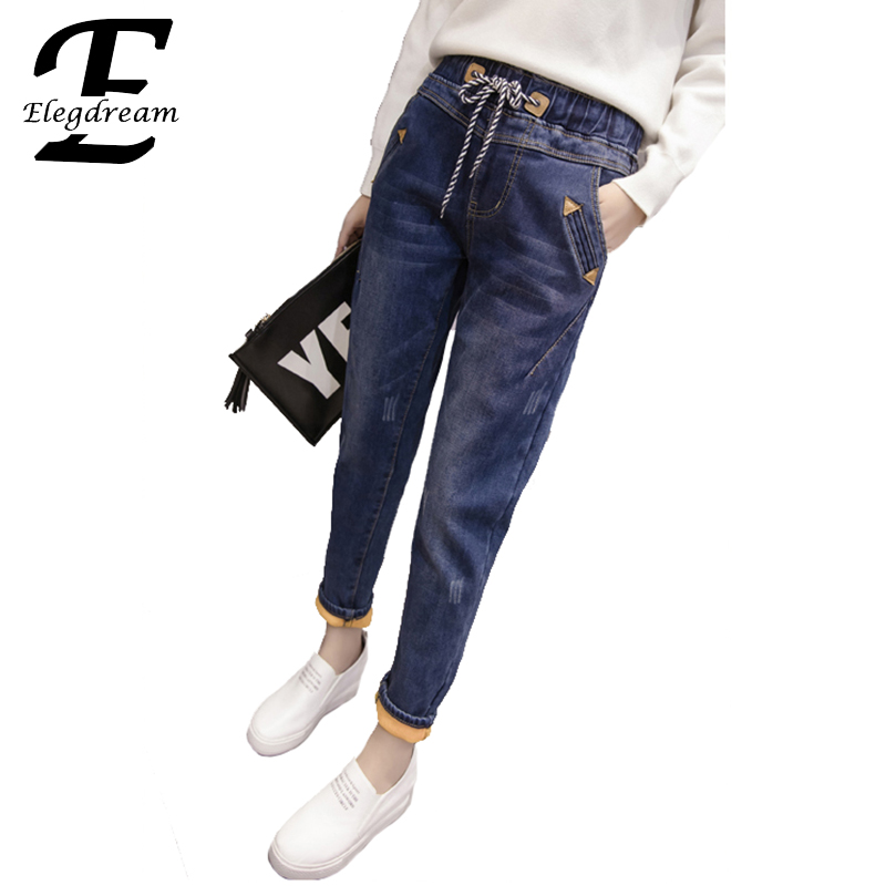 Elegdream Plus Size Women Clothing Autumn Winter Velvet Pants Thicken Warm Jeans Trousers Slim Skinny Female Denim Pencil Pants