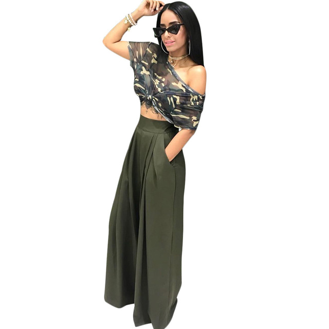 b43533430ccc 2 piece set women suit crop top wide leg loose pants camo camouflage  military outfit female army green two piece set
