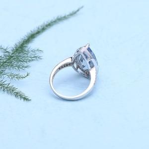 Image 3 - Mücevher bale 7.89Ct doğal Iolite mavi mistik kuvars yüzük 925 ayar gümüş taş su damlası yüzük kadın için ince takı