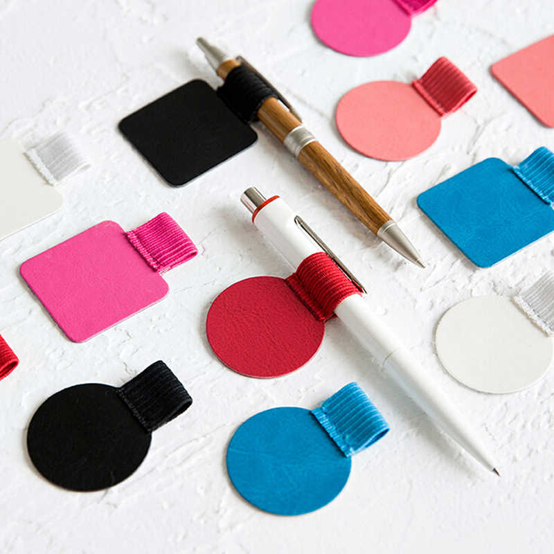 Pen Clip PU Leather Pen Holder Classic Office Stationery School Elasticity Rainbow Color Notebook Accessories