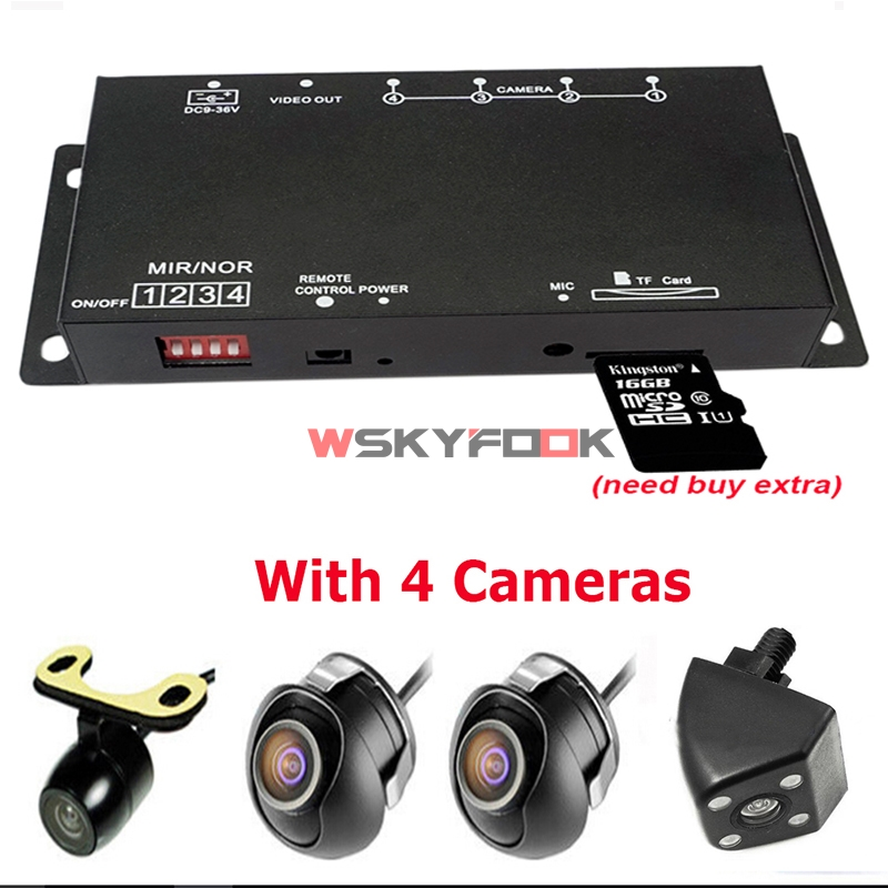 Combiner-Box Switch Car-Dvr-Recorder Video-Camera Remote-Control 4way Parking-Assistance