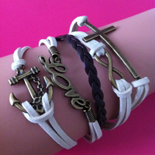 2014 New Korean style Fashion vintage multilayer DIY braided rope bronze love cross anchor wrap link bracelets & Bangles