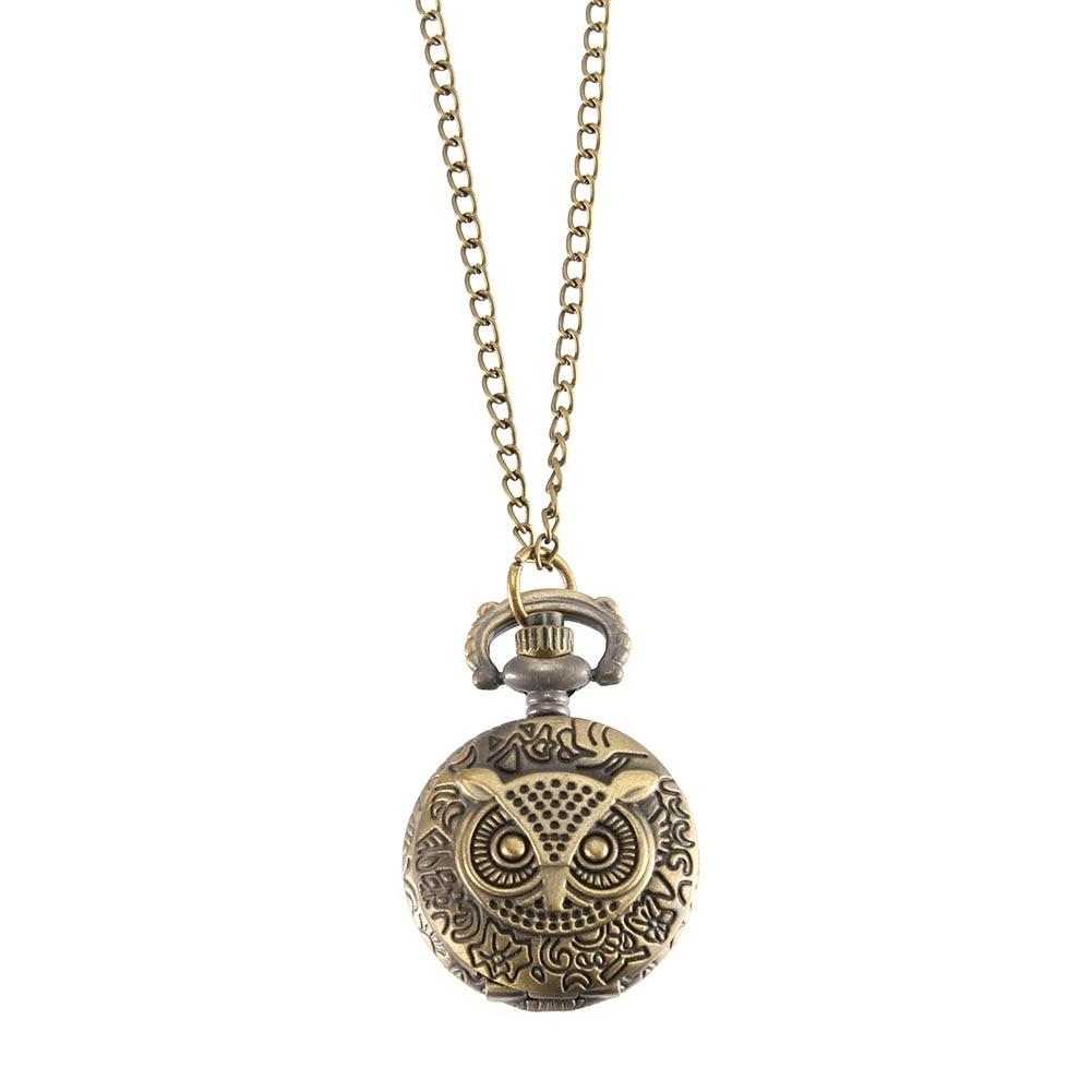Vintage Pocket Watch Bronze Color Quartz Watch Cool Chain Owl Pattern Watches LL@17