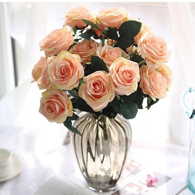 1 Grupo 10 CABEÇA Flor Artificial Silk Rose Bouquet Floral Falso Organizar  Mesa Margarida Flores Casa
