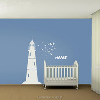 Wall Decals Kids Lighthouse and Flock of Birds Nautical Vinyls Wall Art Decal Sticker Wall Decor Baby Wall Stickers Room Decor