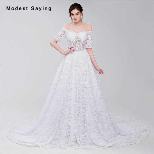 Sexy Sheer White Ball Gown Half Sleeve Lace Cover Wedding Dresses 2017 Formal Women Long Bridal